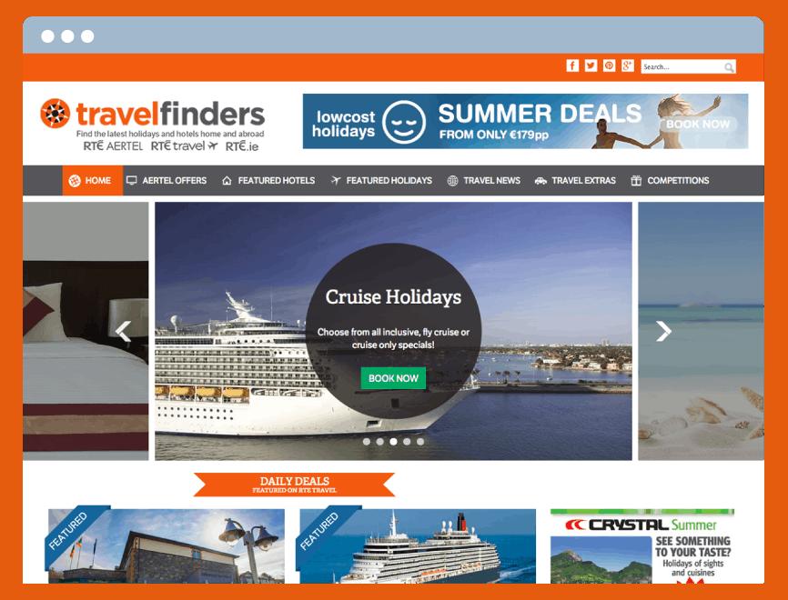 Travelfinders Homepage Web Design
