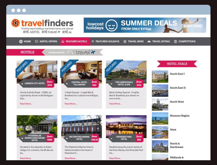 Travelfinders Internal Page Web Design